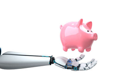 The AI helps with the investment of money. 3d illustration. Stock Photo