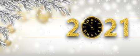 Christmas banner with frozen twigs, clock and numbers 2021.  vector file.