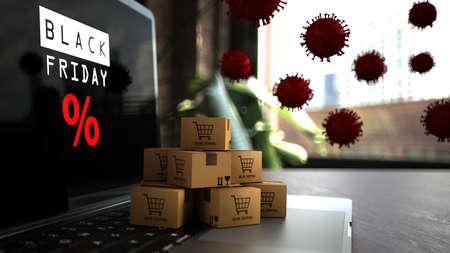 Online shopping during Black Friday in times of Coronavirus. 3d illustration.
