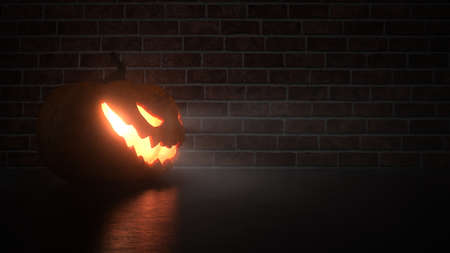Halloween pumpkin in front of a clinker wall. 3d illustration. Stock Photo