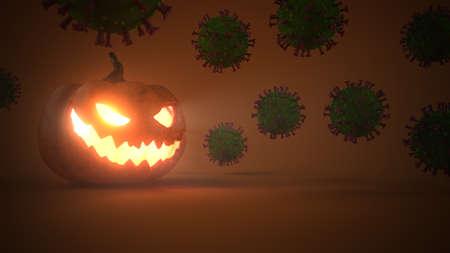 Halloween pumpkins with corona virus. 3d illustration. Stock Photo