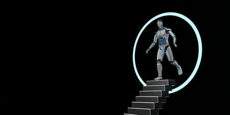 Humanoid robot comes through a dimension gate. 3d illustration.