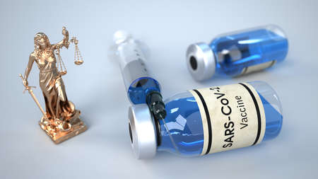 Legal vaccination against the disease Covid-19. 3d illustration.