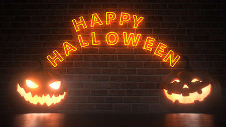 Two halloween pumpkins with the text Happy Halloween. 3d illustration.