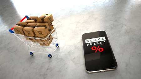 Shopping cart with shipping boxes and smartphone with the text Black Friday.