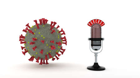 A podcast microphone with the corona virus on the white background. 3d illustration.