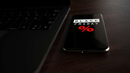 A smartphone with the notebook on the table with text Black Friday. 3d illustration.