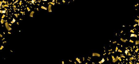 Golden confetti on the black background.  10 vector file.
