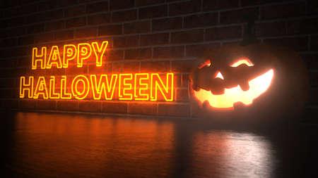 Halloween pumpkin with the text Happy Halloween. 3d illustration.