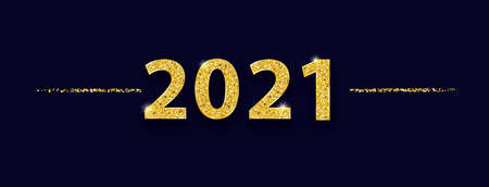 Header with the golden numbers 2021 on the dark blue background. Eps 10 vector file.