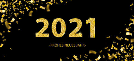 German text Frohes Neues Jahr, translate Happy New Year. Eps 10 vector file.