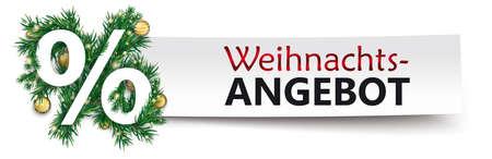 German text Weihnachtsangebot, translate Christmas Offer.   vector file. Vettoriali