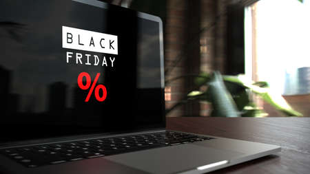 A notebook on the table with text Black Friday. 3d illustration.