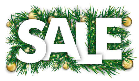 Christmas cover with white text Sale and green fir branches with the golden baubles.    vector file. Vettoriali