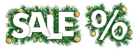 Christmas cover with white percent, text sale and green fir branches.   vector file.