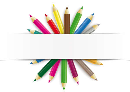 White paper banner colored pencils. vector file.