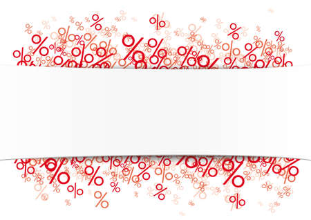 White paper banner  the red percents.   vector file.