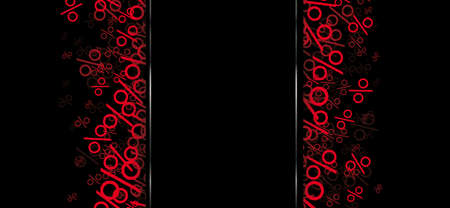 Red percents on the black background.   vector file.