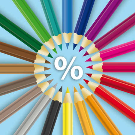 Colored pencils  white percent on the  background.   vector file. Vettoriali