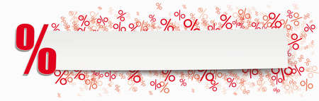 White paper banner  red percents on the white background.   vector file.