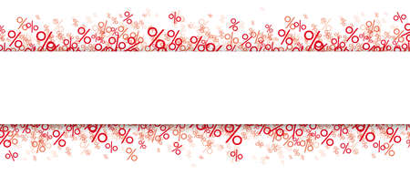 Red percents on the white background  the white paper banner.   vector file. Vettoriali