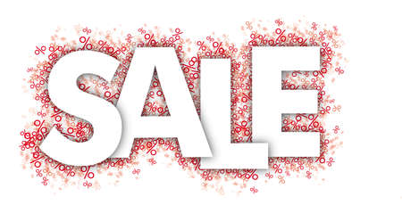 White text Sale  the red percents on the white background.   vector file. Vettoriali