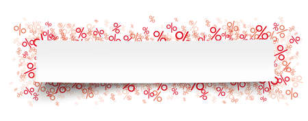 White paper banner  red percents.   vector file.