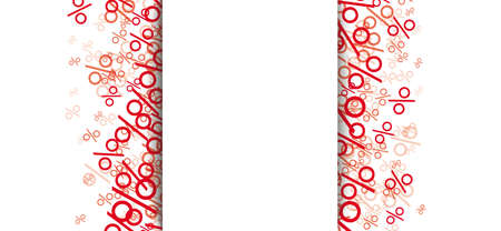 Red percents on the white background.   vector file. Vettoriali