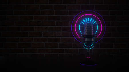 A neon sign microphone with the text Podcast. 3d illustration.