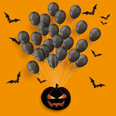 Halloween cover with black balloons, pumpkin and bats on the orange background. Eps 10 vector file.