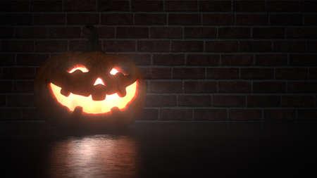 A glowing Halloween pumpkin in front of a clinker wall. 3d illustration.