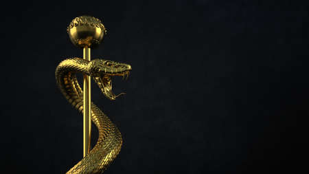 A statue with the snake on the staff of Asclepius. 3d illustration.