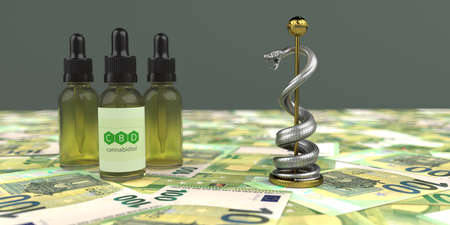 A lot of money can be made with CBD oil. 3d illustration.