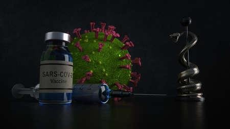 Vaccination against coronavirus. 3d illustration.