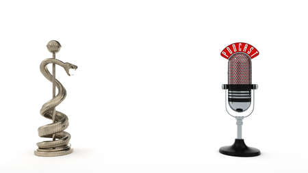 Aesculap staff with a podcast microphone. 3d illustration.