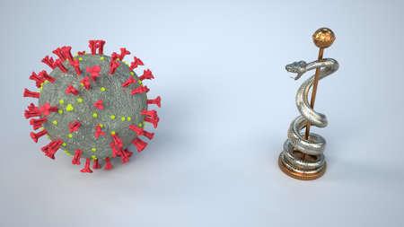 The medicine in times of coronavirus. 3d illustration.