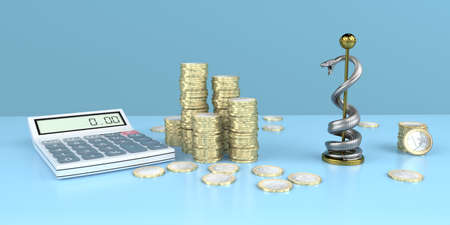 The calculation of a medical therapy. 3d illustration.