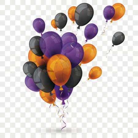 Purple, orange and black balloons  on the checked background.   vector file.