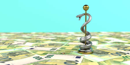 Medical care costs a lot of money. 3d illustration. Archivio Fotografico
