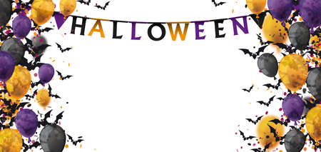 Halloween confetti, bats and balloons on the white background.   vector file.
