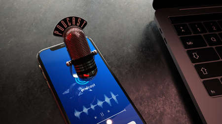 A microphone with the text Podcast on the smartphone. 3d illustration.