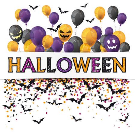 Halloween cover  balloons, confetti and black bats.   vector file.