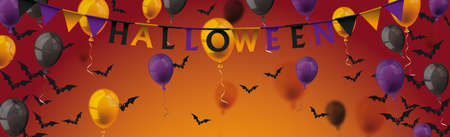 Halloween banner  balloons, bats and bunting on the white background.   vector file. Vettoriali