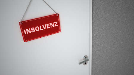 German text Insolvent, translate Insolvency. 3d illustration. Archivio Fotografico