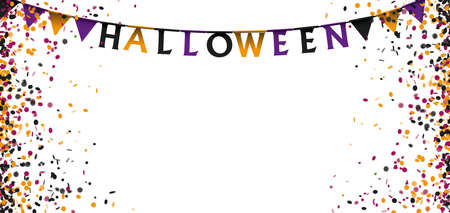 Halloween confetti on the white background.   vector file.