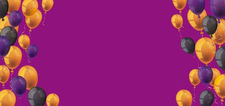 Halloween balloons on the purple background.   vector file. Vettoriali