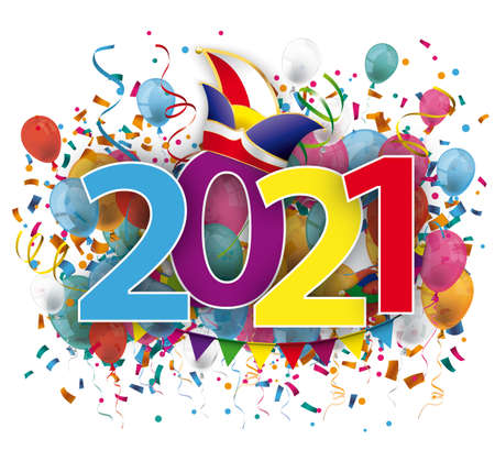 2021  colored confetti and jesters cap on the white background.   vector file.