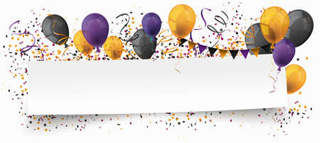 Halloween paper banner  colored balloons and confetti.   vector file.