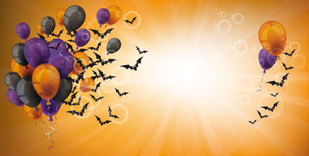 Halloween banner  balloons and bats in the sky.   vector file. Vettoriali