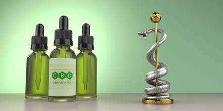 The bottles of the cbd oil with the aesculapian staff on the table. 3d illustration. Archivio Fotografico